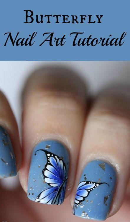 Le dessin des ongles, papillon bleu