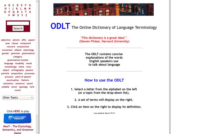 ODTL.org/ Online Dictionary of Language Terminology