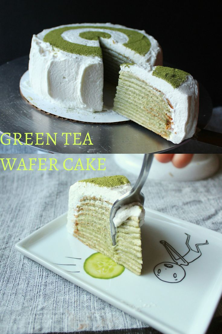 Kind of like the famous Lady M Green Tea Crepe cake but made with wafers instead. So delicious and such a show stopper!