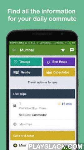 Zophop: Live Bus Timing & Uber  Android App - playslack.com ,  Find all the information for your daily commuteSee real-time location of buses, trains, cabs, and auto rickshaws near you with estimated time of arrival (ETA) to the stop (or pick-up location)Select the best route – fastest vs. cheapestNear You - Find nearby bus stops and train stationsCheck Timings - works with and without internetProximity alert for nearby buses and trainsNo need to download multiple apps – zophop has it all.1…