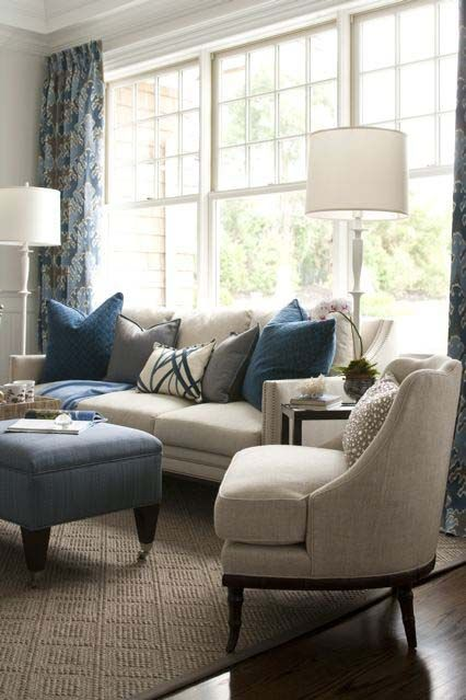 Kate Singer Sitting Room at the Hampton Designer Showhouse - love the mix of blues and neutrals.