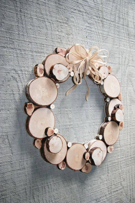 All Season Wreath Natural Organic Wood wall sculpture Christmas wreath Wood slices Tree slice Rustic decor Holiday decor
