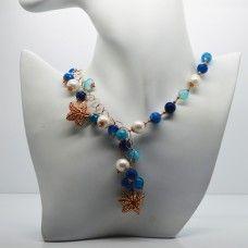 """Argenti da indosso : collier in argento rosa """"925 millesimi"""" con agate e perle coltivate in acqua dolce."""