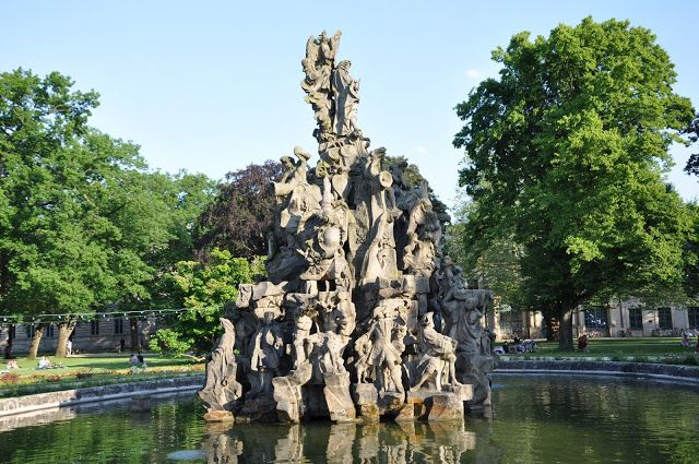 The Fountain in the Main Park in Erlangen, Germany