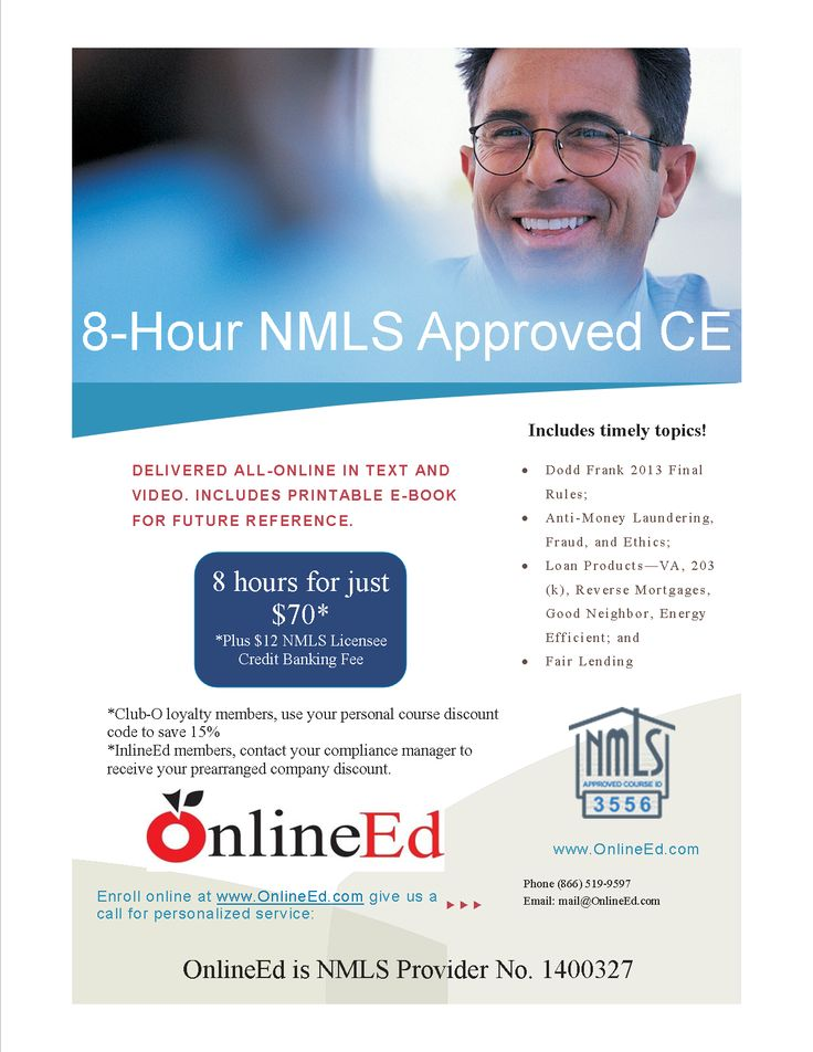 NMLS 8hour continuing education for mortgage license
