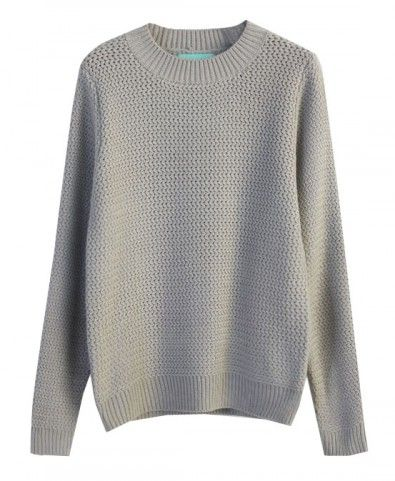 Casual Round Neckline Long Sleeves Knitting Pullover
