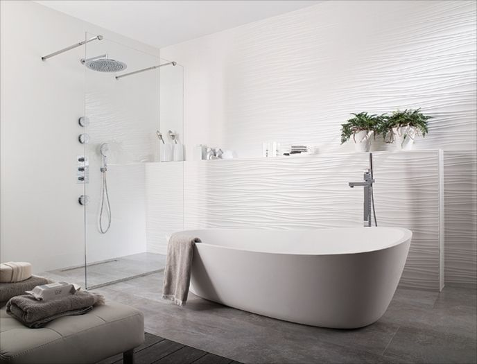 textured wall tile with stone floor porcelanosa oxo line blanco modern white