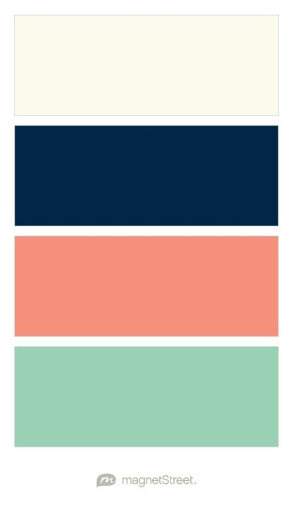 Ivory, Navy, Coral, and Mint- I want my wedding to include these colors! *Note: Again, living room