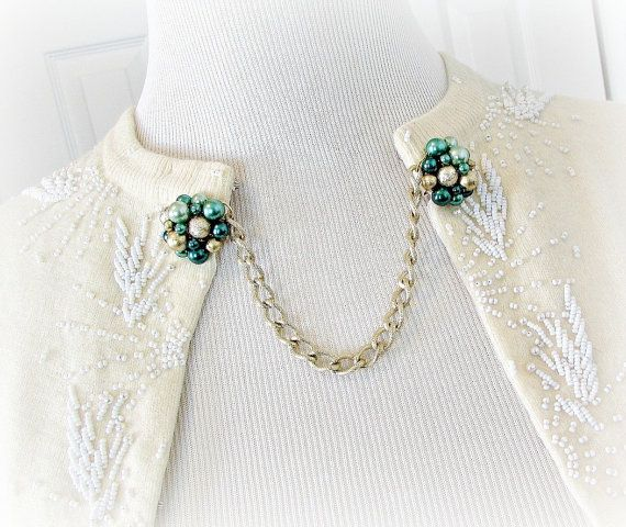 Upcycled Vintage Sweater Guard Clip. Pearl Sweater Clip. Gold Green Sweater Clip. Gold Cardigan Clip Chain. 1950s Rockabilly Jewelry. by RedGarnetStudio, $20.00