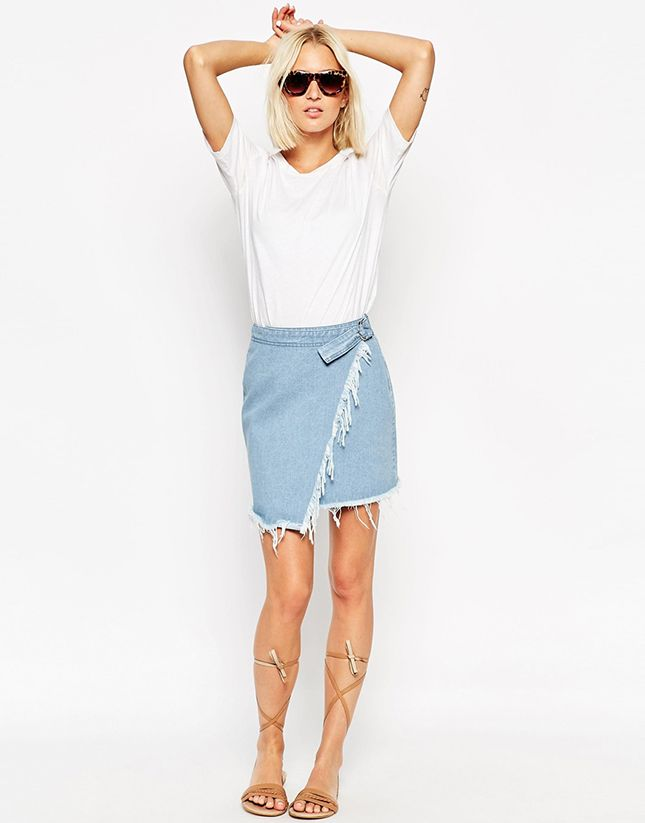 10 Denim Skirts to Wear Today That Will Take You Back to the '90s via Brit + Co.