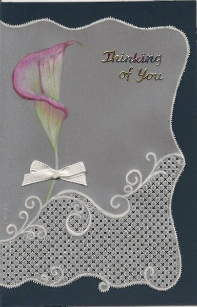 By Carolyn C. Pergamano Parchment Craft Sympathy card.  Polychromo pencils, gridwork and embossing.