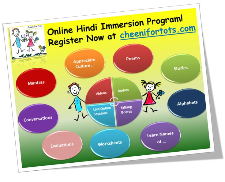 Unique and Online Hindi Immersion Program for kids! It covers Hindi Alphabets – Reading & Writing, Conversation,  Poems, Stories, Culture & Heritage,  Names of fruits, animals, flowers, and more via modern tools and techniques, such as audios, videos, interactive graphics, evaluations, exercises and more.