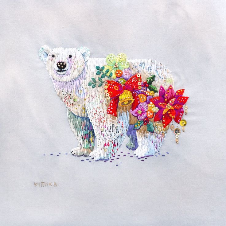 ice bear with flowers - embroidery - so beautiful!