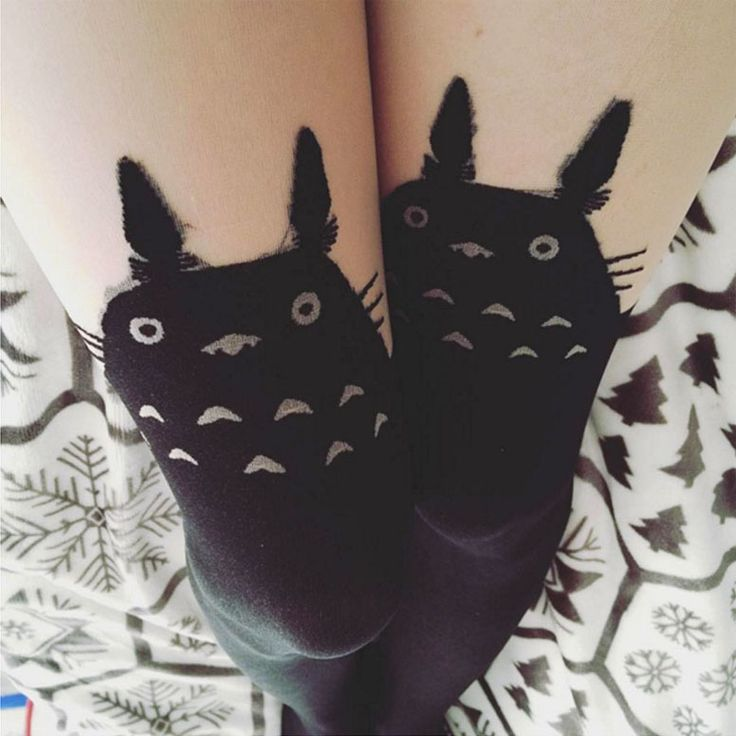 Totoro knee highs-- use black knee highs or felt