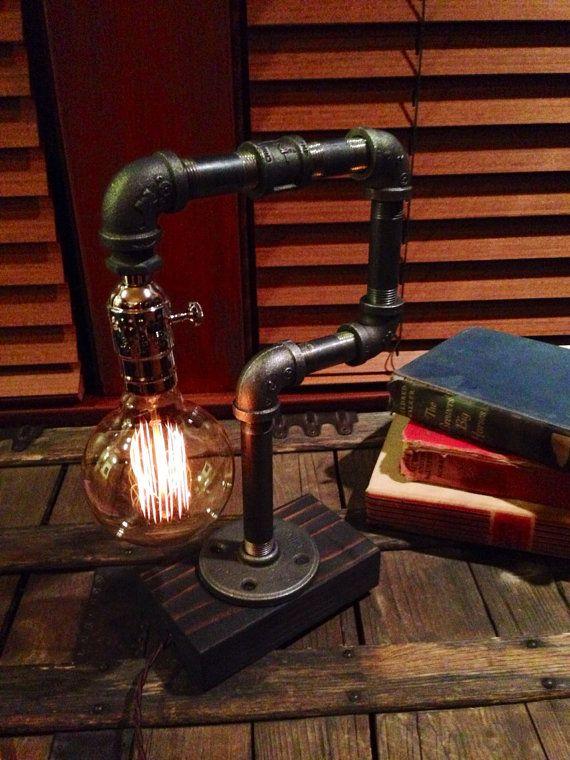 Edison Light Metal Desk Lamp, Reclaimed Wood Base - BULB INCLUDED / Vintage Industrial Lamp / Steampunk Light / Table Lamp on Etsy, $65.00