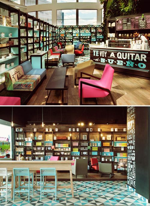 Cielito Querido Café - México - por Retail Design BR. Die zwei unterschiedlichen Farbigkeiten im Regal gefallen mir gut, ebenso die Anordnung des Counter in der Diagonalen.