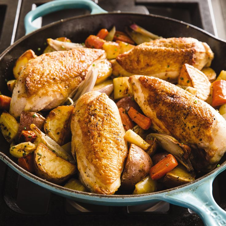 America S Test Kitchen One Pan Roast Chicken With Root Vegetables