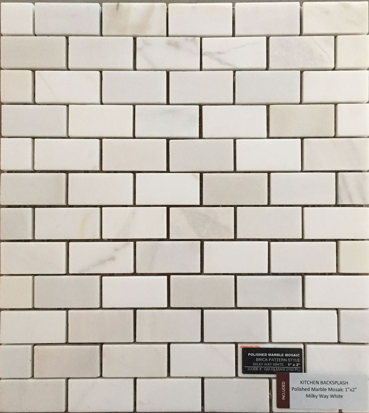 Included Kitchen Backsplash Tile - Polished Marble Mosaic 1x2 - Milky Way White
