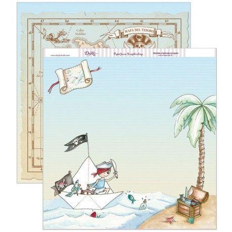 Papel scrap con un barco de papel pirata en una isla y un mapa del tesoro por detrás #scrap #conideade #manualidades