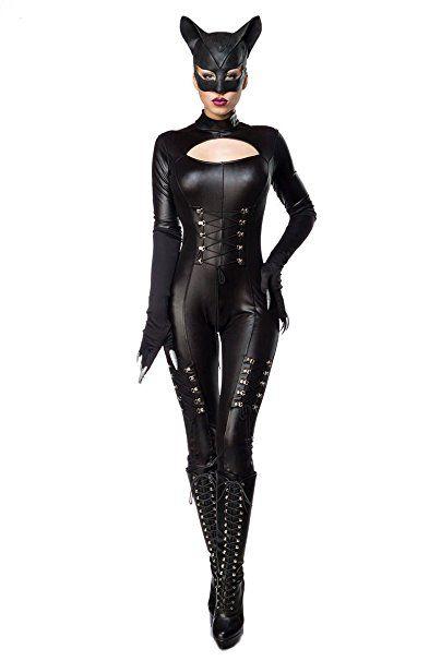 """AT 3-tlg. Katzen Kostüm """"Sexy Cat"""" im Wetlook : Overall, Maske, Handschuhe, Catwoman Set in schwarz von MASK PARADISE (2XL/3XL (44-46))"""
