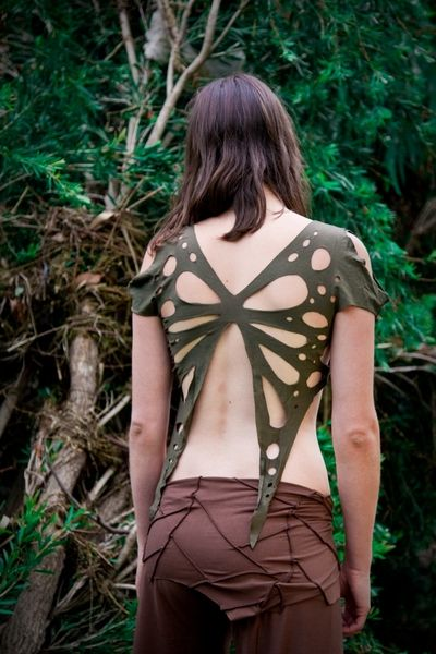 Butterfly Top - could possibly do this from a repurposed T - making a sort of shrug but cutting the front high.: