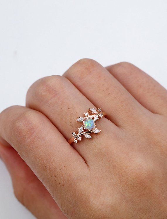 Opal engagement ring Rose gold engagement ring Diamond Cluster ring Unique Delicate leaf wedding women Bridal set Promise Anniversary Gift – Hasen Zahn
