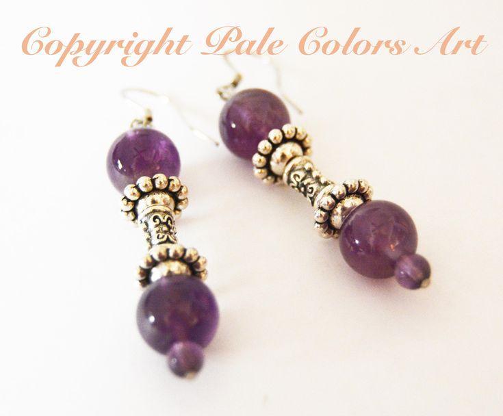 Amethyst Earrings,Genuine Stone Earrings,Stainless Steel Hypoallergenic Non-Tarnish,Dangle Earrings,Amethyst Stone Earrings,Brides Maid Gift
