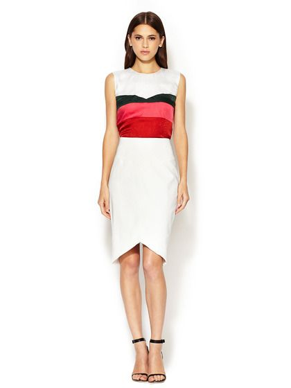 Crepe Angular Pencil Skirt and Silk Scaled Printed Top by Narciso Rodriguez