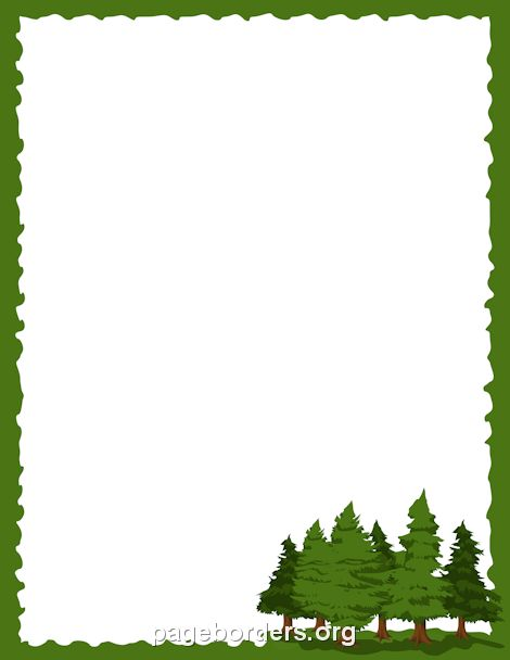 Printable pine tree border. Use the border in Microsoft Word or other programs for creating flyers, invitations, and other printables. Free GIF, JPG, PDF, and PNG downloads at http://pageborders.org/download/pine-tree-border/