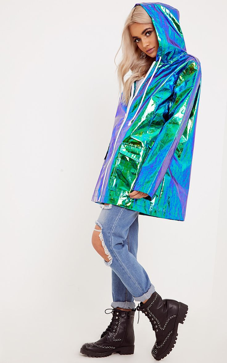 Green Holographic Rain MacBe saved from the rain in style with this holographic rain mac. Featuri...
