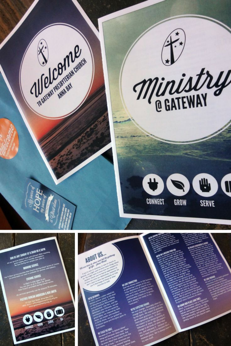 Gateway Welcome Pack. We created a little welcome pack for visitors to our Church. It includes a booklet about our Church & what we believe, a Gospel track, a booklet about the ministries at the church a cute magnet and a block of Chocolate! It's been a great way to welcome people.