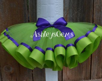 Tinkerbell, campanita vestido del tutú, cumpleaños Tinkerbell traje, traje de Tinkerbell, Tinkerbell cinta tutú, Lima y púrpura Tutu