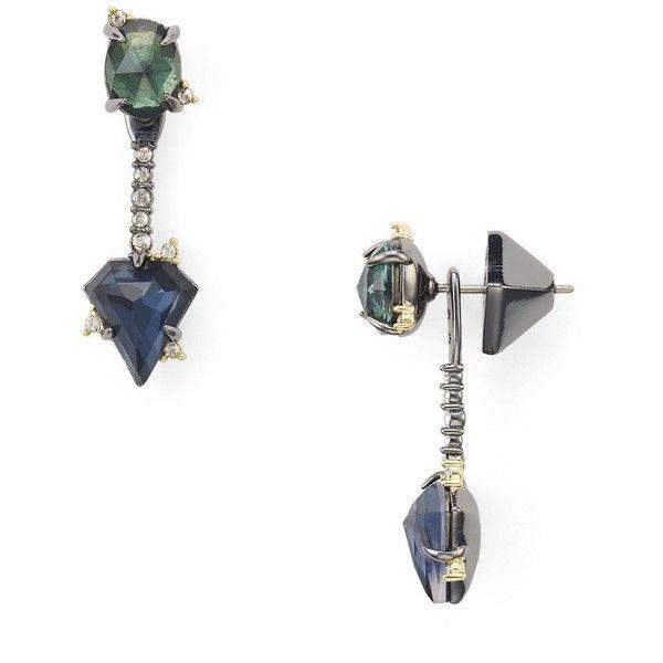 Alexis Bittar Double Stone Ear Jacket Earrings (€120) ❤ liked on Polyvore featuring jewelry, earrings, stone earrings, alexis bittar jewelry, alexis bittar earrings, earring jewelry and stone jewelry