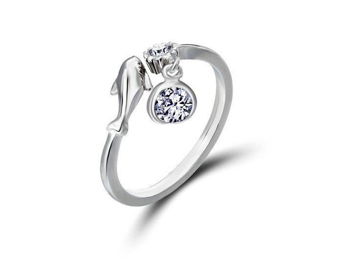 Free Shipping 100% Pure 925 Sterling Silver Crystal Dolphins Ring, Wholesale Gorgeous Guarantee Jewelry, XH709