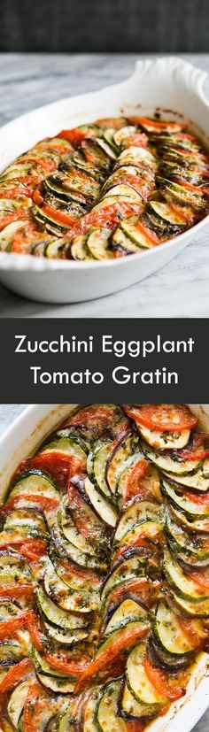 Summer zucchini, eggplant, and tomatoes, beautifully presented in a baked casserole gratin! On SimplyRecipes.com