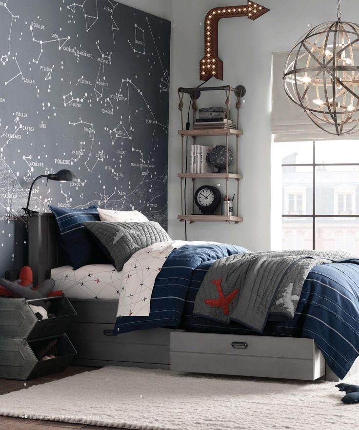 Boy's room ~ airplane and constellation wall map
