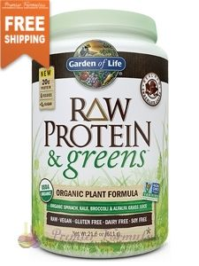 RAW Protein and Greens Chocolate 21.6 oz. A delicious protein boost from organic sprouted brown rice, organic pea & organic chia, plus a blend of nutrient-rich, energizing greens.