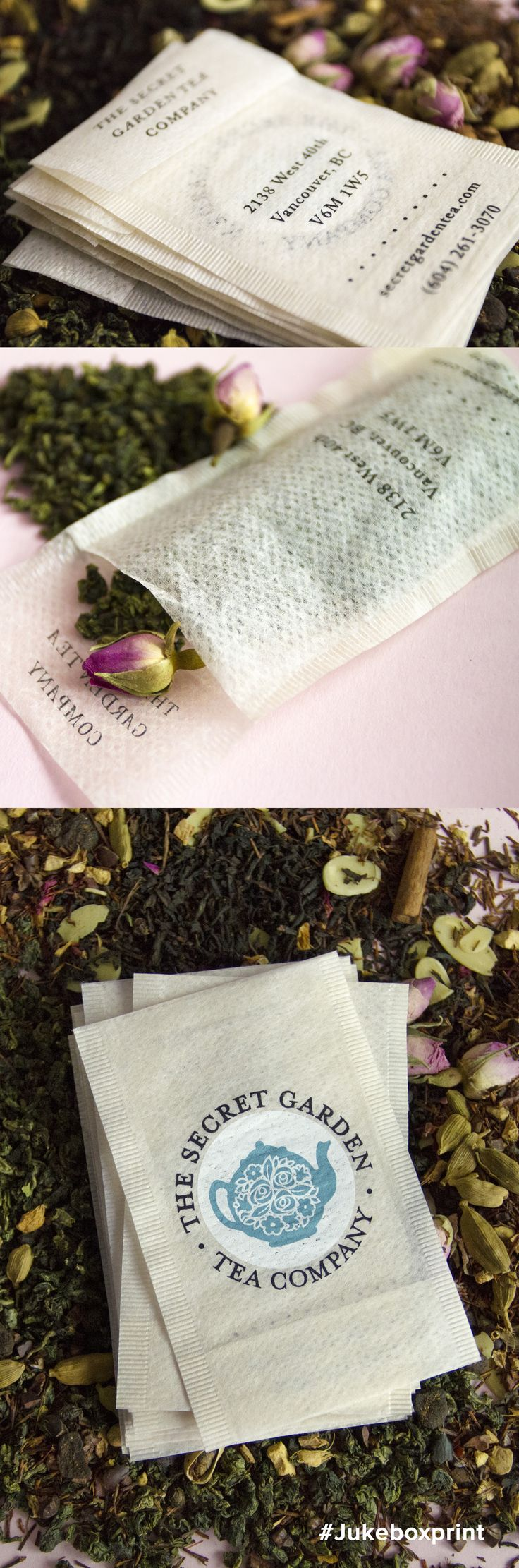 Carefully Handcrafted Business Cards printed on real Tea Bags.   Produced by Jukebox Print.