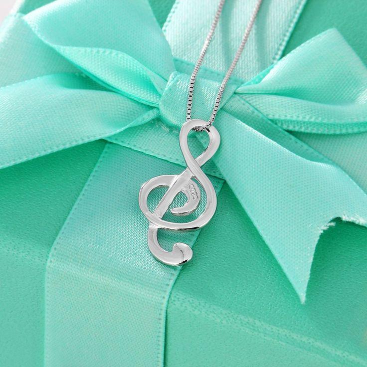 Musical Note Necklaces & Pendant. Elegant Women Silver Necklace.