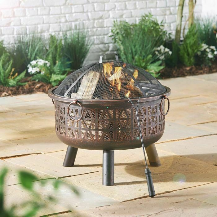 Vonhaus 17026 Geo Fire Pit Bowl With Spark Guard Unbranded