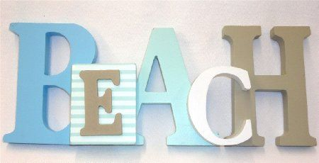 "Amazon.com - Beach Word Sign - Tropical Beach Decor - Great for Office - Table Top or Wall Hanging - 12.5"" Long 5"" Tall - Home Decor Accents..."