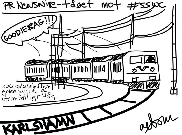 Goodiebag på tåget!! #sswc fin teckning av axbom