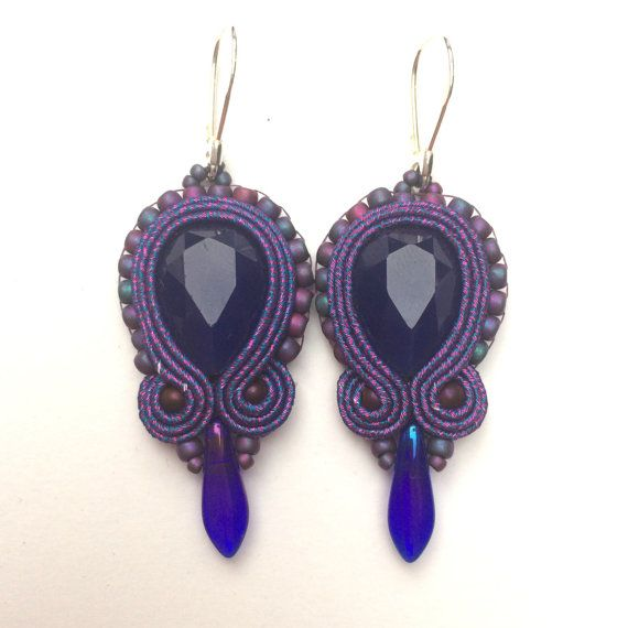 Violet soutache earrings by Lolissa on Etsy