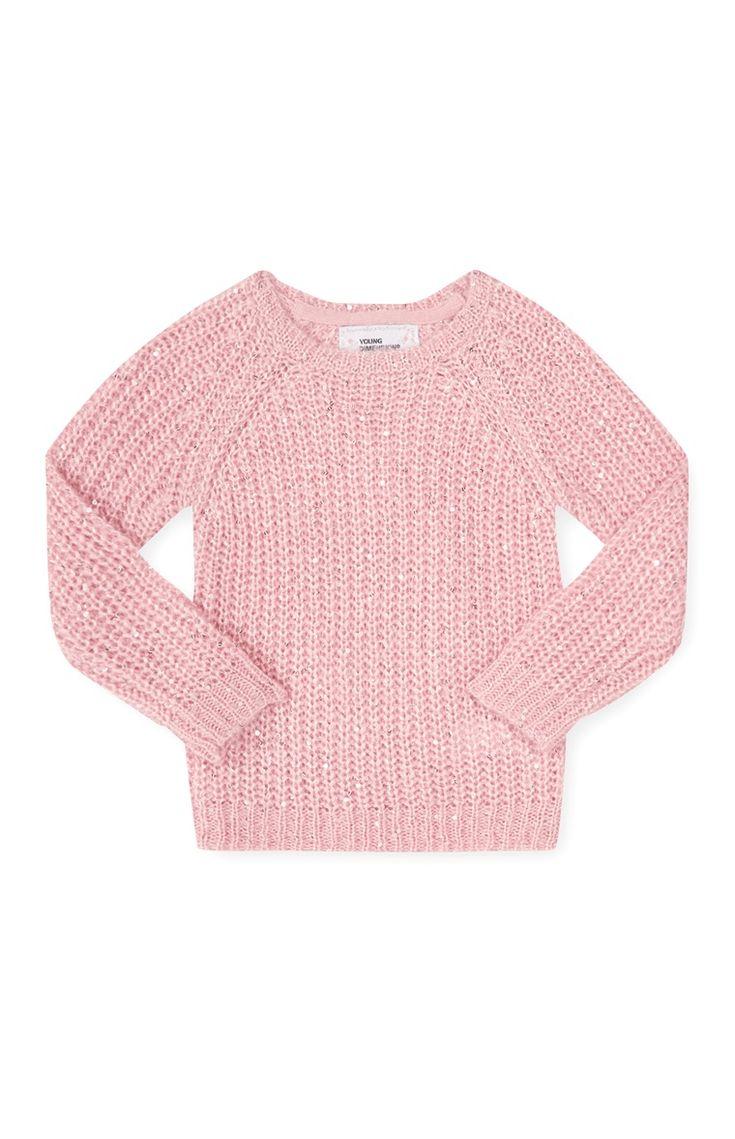 Primark - Gebreide roze trui met pailletten