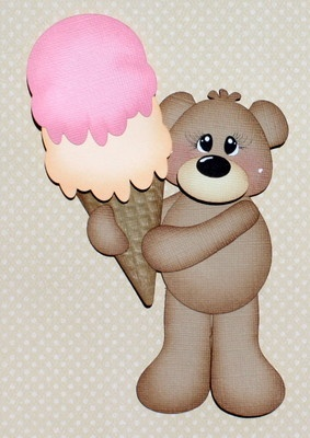 Ice cream paper pieced bear