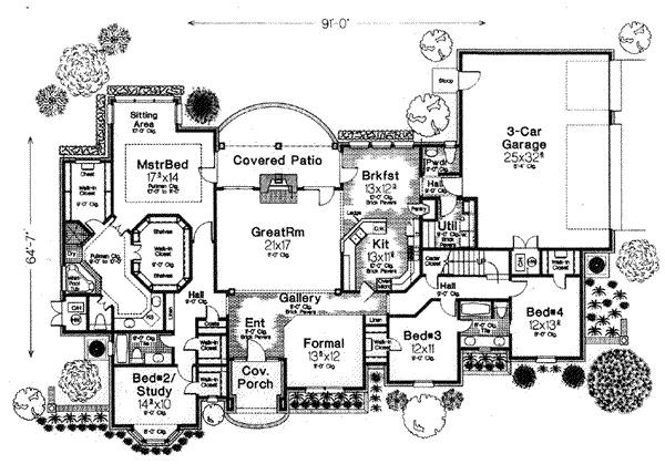 House plan 310 552 2 941 sq ft rambler w bonus room for Rambler house plans with bonus room
