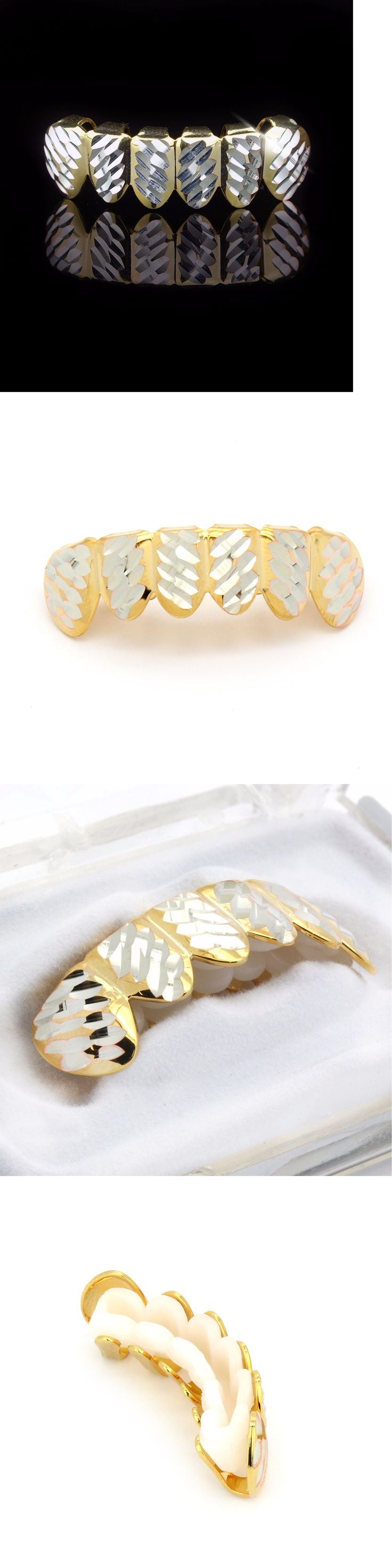 Grillz Dental Grills 152808: 14K Gold Plated Hip Hop Jewerly Diamond Cut Side Cap Teeth Grillz Bottom BUY IT NOW ONLY: $250.0
