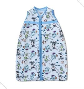 Animal print baby sleeping bag.Size 0-36 months. Blue satin trim to arms, neck and zip edge and blue inner. Two layers of soft cotton/flannel with cosy batting. Central zip from bottom to top for ease of changing.