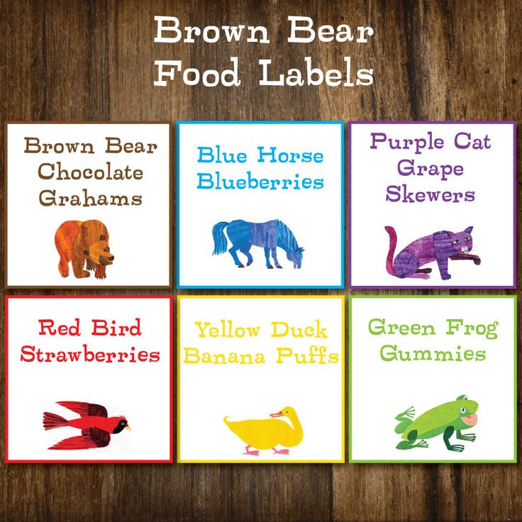 Brown Bear Eric Carle inspired Birthday or Baby Shower Party Food Labels. $5.00, via Etsy.