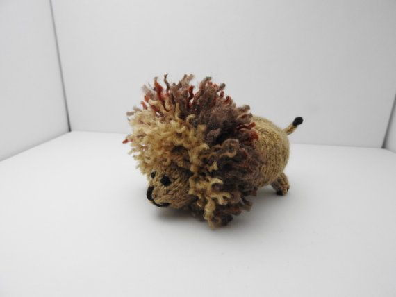 Hand knitted Lion Pin Cushion Critter, Desk Toy #OOAK